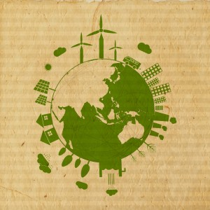 World Environment Day concept with illustration of urban city an